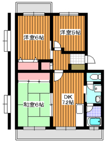 プラザサンタナカ2号館5階Fの間取り画像