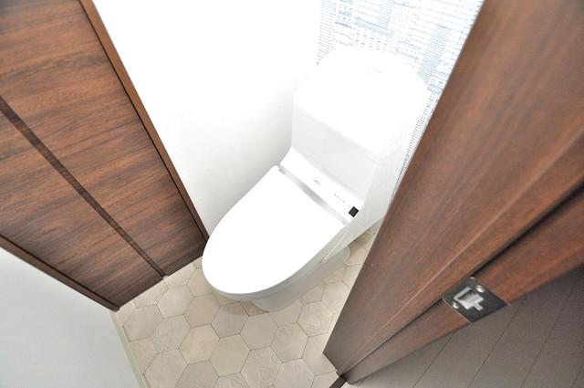 クリエオーレ南上小阪 白くてピカピカのトイレですね。癒しの空間になりそう。