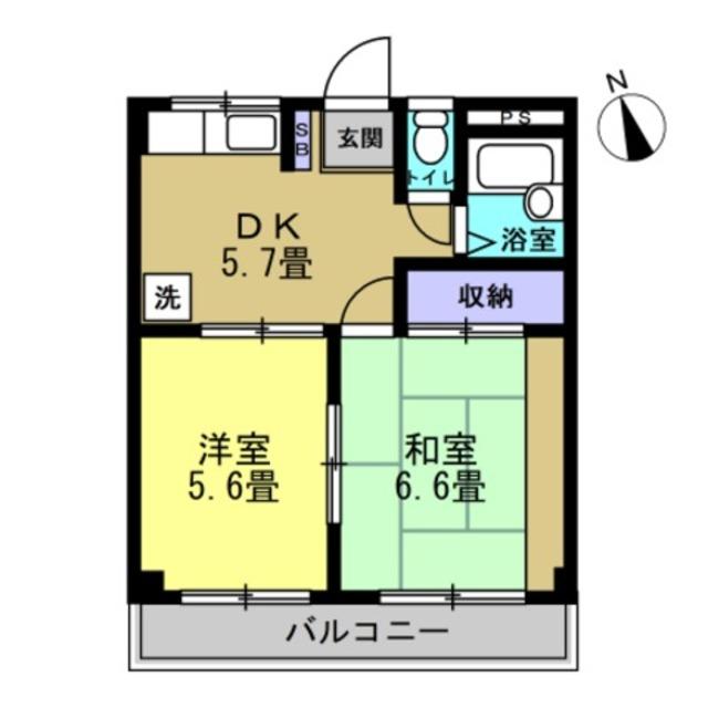 DK5.7 洋5.6 和6.6(間取り反転)