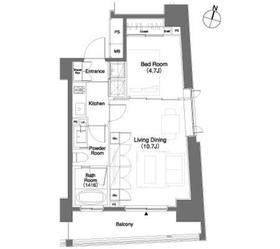パークキューブ笹塚5階Fの間取り画像