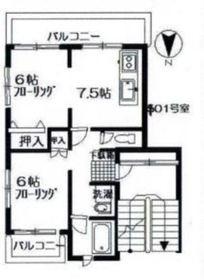 ニッコクハイツ1階Fの間取り画像