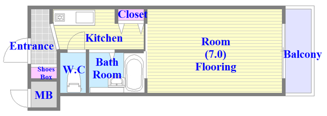 リップル布施イースト キッチンが独立している単身さん向けのお部屋です。