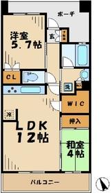ブリリア多摩ニュータウンB棟12階Fの間取り画像