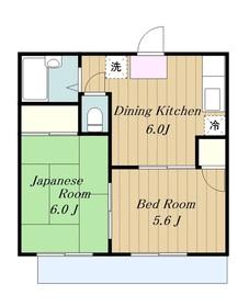 清川グリーンハイツ2階Fの間取り画像
