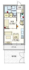 ヘーベルVillage 江古田の森1階Fの間取り画像