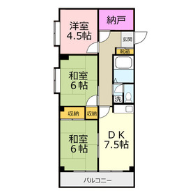 ハイム大井ツカサ2階Fの間取り画像