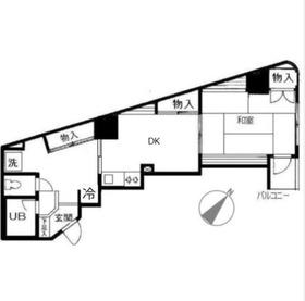 生麦栗山ハイツ2階Fの間取り画像