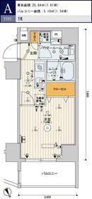 スカイコートヒルズ新宿10階Fの間取り画像
