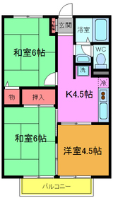 市川駅 バス15分「曽谷郵便局」徒歩5分2階Fの間取り画像