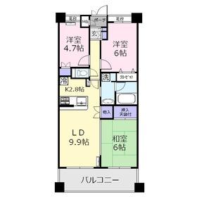 サニーコート上福岡4階Fの間取り画像