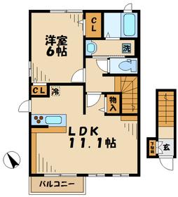 プリムローズ2階Fの間取り画像