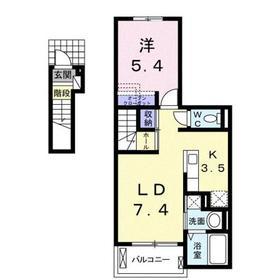 プランドール Ⅱ2階Fの間取り画像