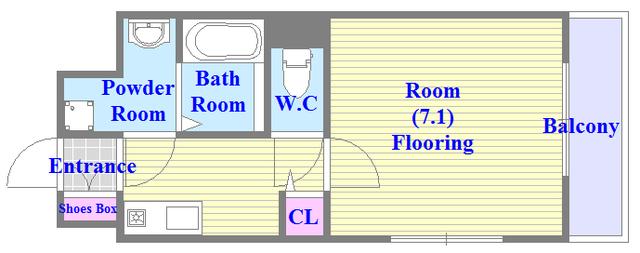 うれしいバス・トイレがセパレートの単身さん向けの間取りです。