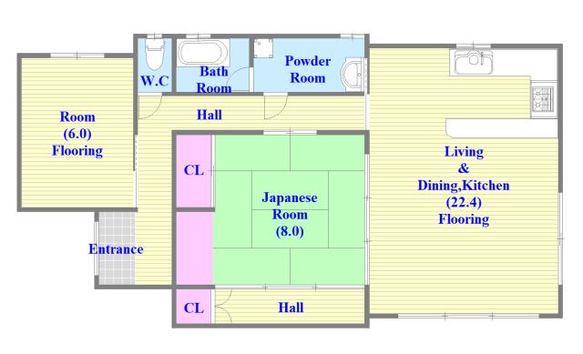アドバンス渋川 ペントハウス 広いリビング、独立キッチンなど、使い勝手の良い間取りです。