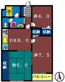 プレイスセトル2階Fの間取り画像