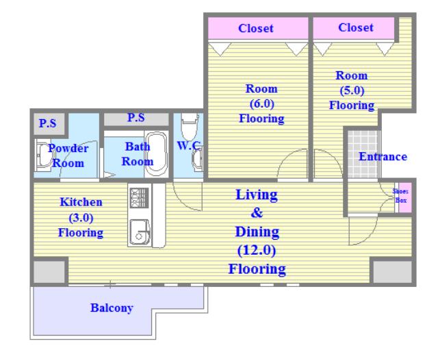 リビングが広く、各所に収納がある使いやすい間取り。
