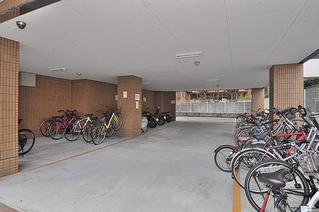 インターナショナル玉造 屋内にある駐輪場は大切な自転車を雨から守ってくれます。