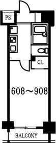 スカイコート月島8階Fの間取り画像