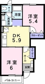 本厚木駅 バス28分「南中央通り」徒歩2分1階Fの間取り画像