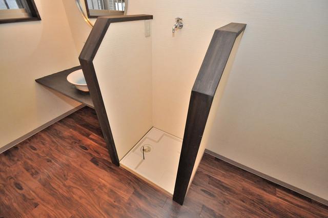 エフェクティブハウス布施 嬉しい室内洗濯機置場。これで洗濯機も長持ちしますね。