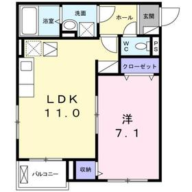 本厚木駅 バス30分「運輸支局入口」徒歩3分1階Fの間取り画像