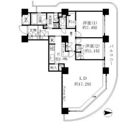 リバーポイントタワー18階Fの間取り画像