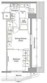 ザ・パークハビオ三軒茶屋テラス5階Fの間取り画像