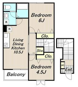 アヴニール2階Fの間取り画像