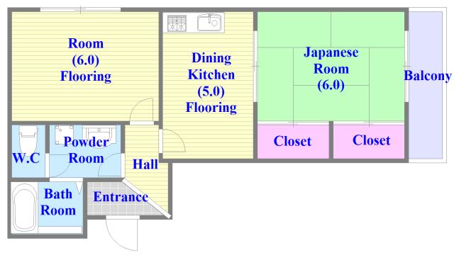 グランドメゾン樋口 セパレートで和室もありファミリータイプにはおススメの間取です。