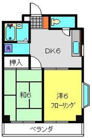 クリエールヤマニ4階Fの間取り画像