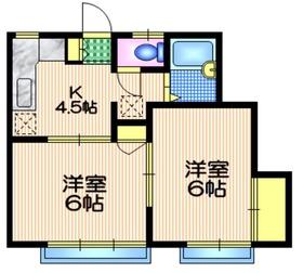 コナガヤコーポ2階Fの間取り画像