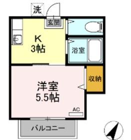 コーポ安井B1階Fの間取り画像