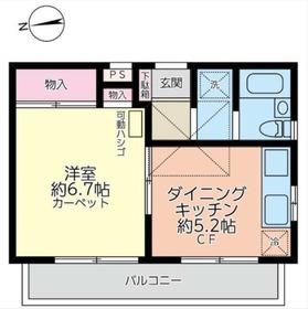 キャッスルマンション東寺尾7階Fの間取り画像