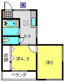 餅田ハイツ1階Fの間取り画像