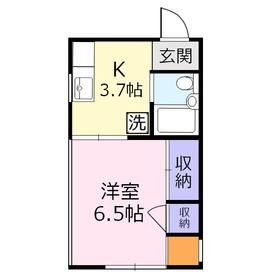 浅野ハイツ1階Fの間取り画像