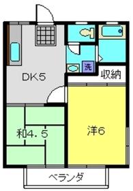 綿貫ハイツB棟2階Fの間取り画像