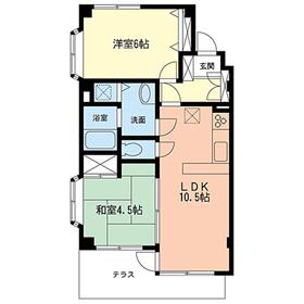 ビューハイツ宮崎台1階Fの間取り画像