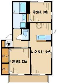 Village Kaznニ番館1階Fの間取り画像