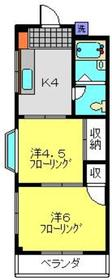 ハイツサハラ2階Fの間取り画像