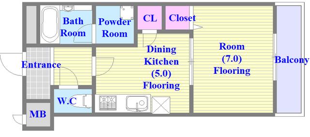 メルシー2000 セパレートで1DKある単身さん向けのお部屋です。