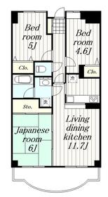 鶴間駅 徒歩15分14階Fの間取り画像