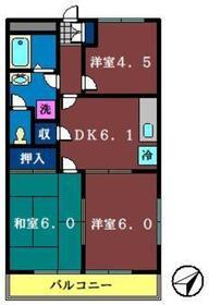 フィオーレゆりの木2階Fの間取り画像
