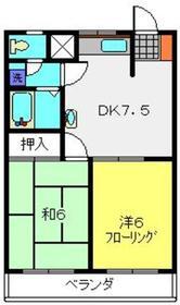 竹園ハイツ3階Fの間取り画像