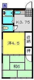 山田荘2階Fの間取り画像