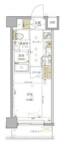 グロース西横浜II1階Fの間取り画像