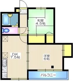 コーポ林屋2階Fの間取り画像