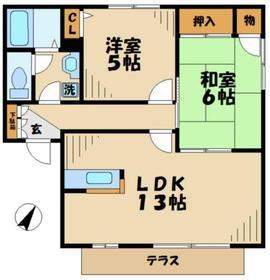 南大沢駅 バス5分「栗本橋」徒歩4分2階Fの間取り画像