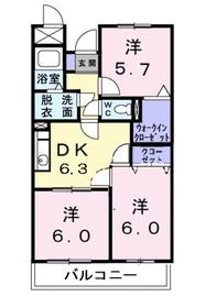 いずみ野駅 徒歩2分2階Fの間取り画像