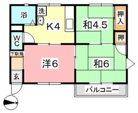 三宅コーポ2階Fの間取り画像