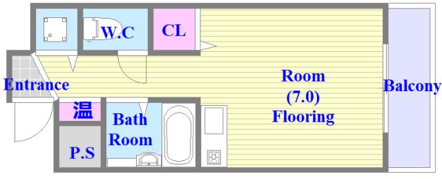 グランメール高井田 バス・トイレが別の単身さん向けのお部屋です。